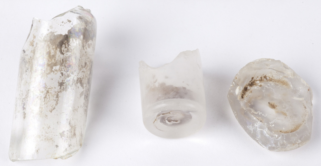 Pieces of glass bottles