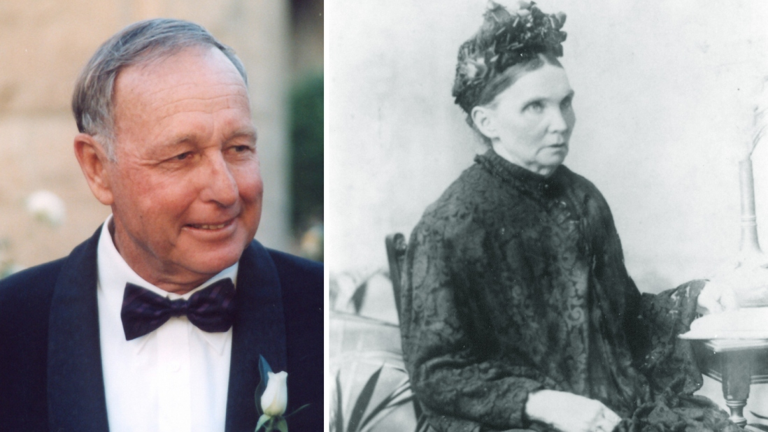 Combined photo portrait featuring contemporary image of man tuxedo and historic photo of woman seated, wearing formal black buttoned up dress and hat.