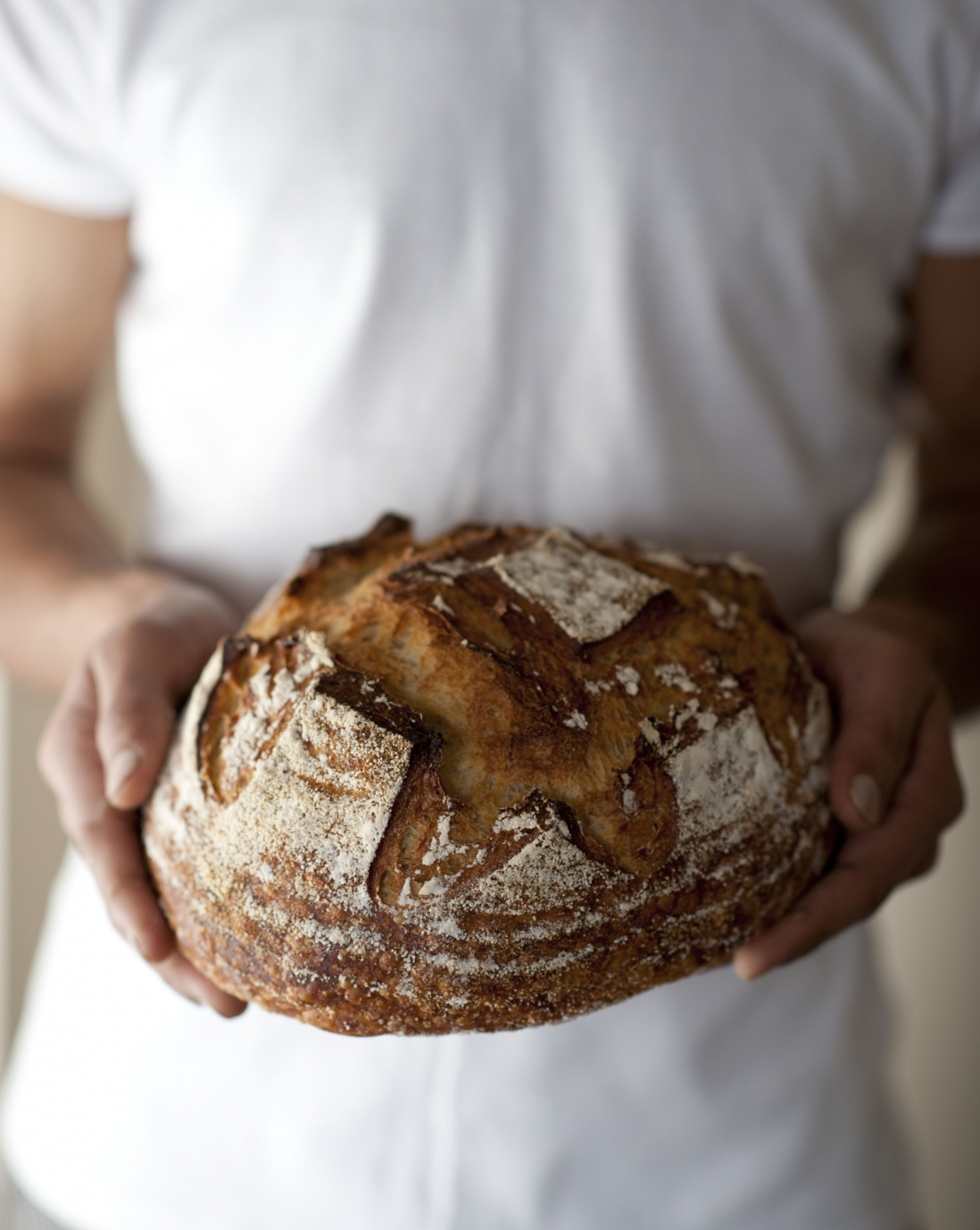 Cropped image of person holding a round loaf of bread
