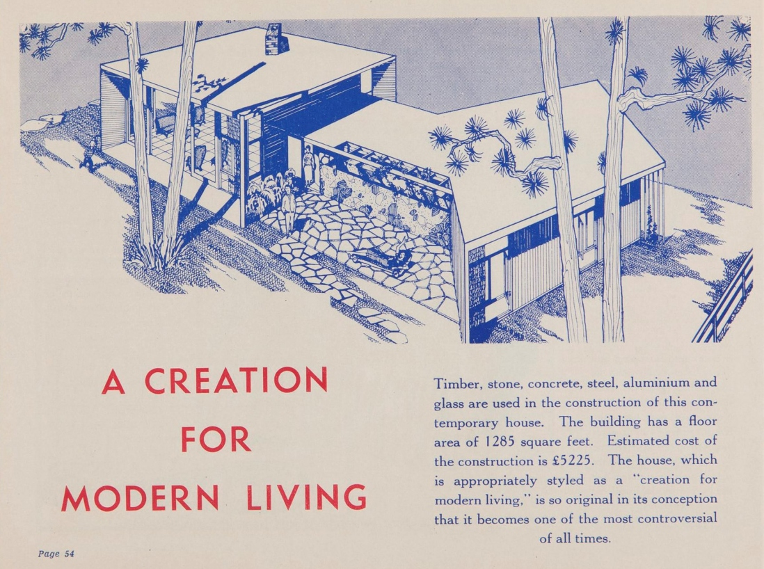 Architectural design from H.L. Divola's 'Truth's home plan book', published c1954