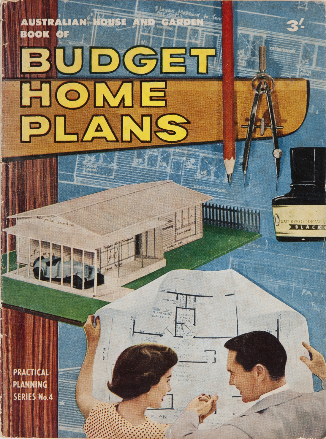 Cover of book, with colour illustration of house and two people looking at a home plan.