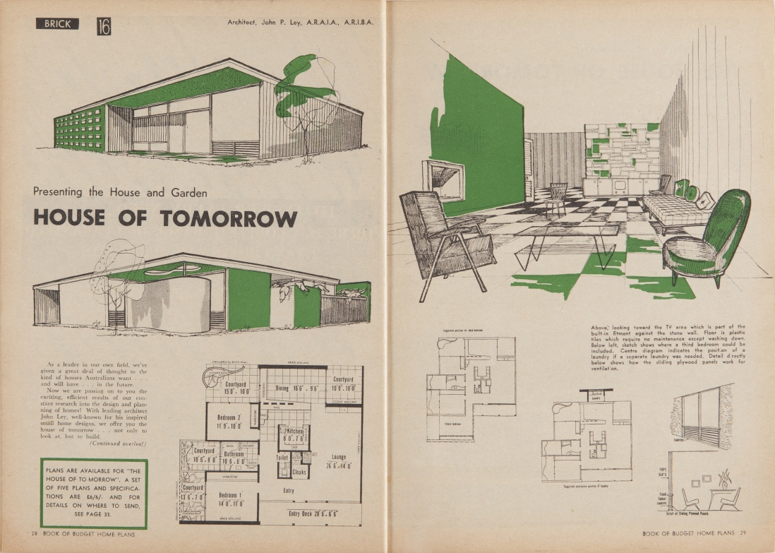 Two page spread with 3 black and white home illustrations with green highlights and a set of home plans.