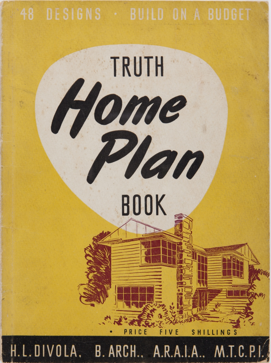 Cover of book, yellow background with drawing of house in brown and black.