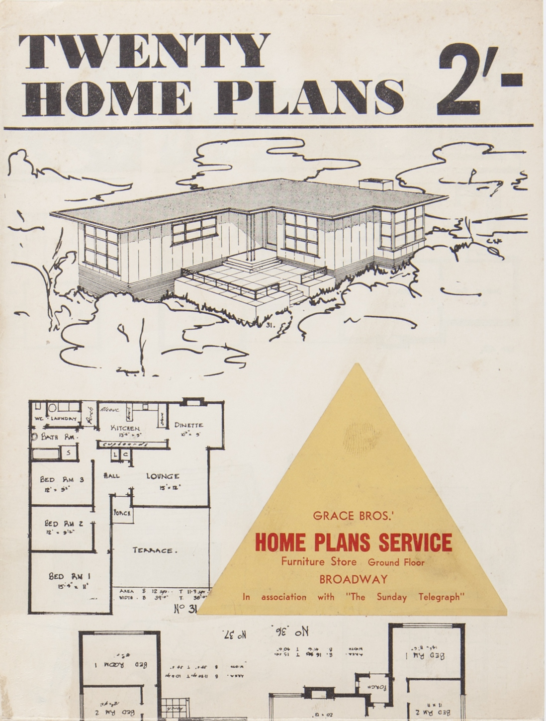 """Detail of booklet front page with title """"Twenty Home Plans""""."""