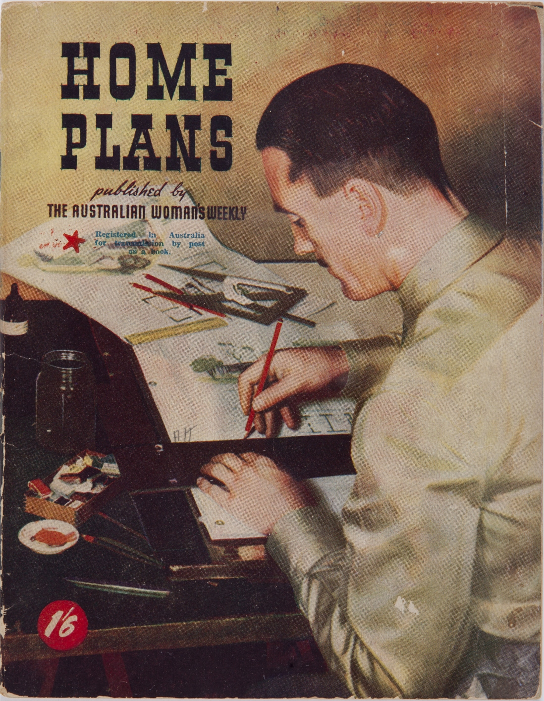Cover of book, with title Home Plans. Illustration of man sitting at desk drawing plans.