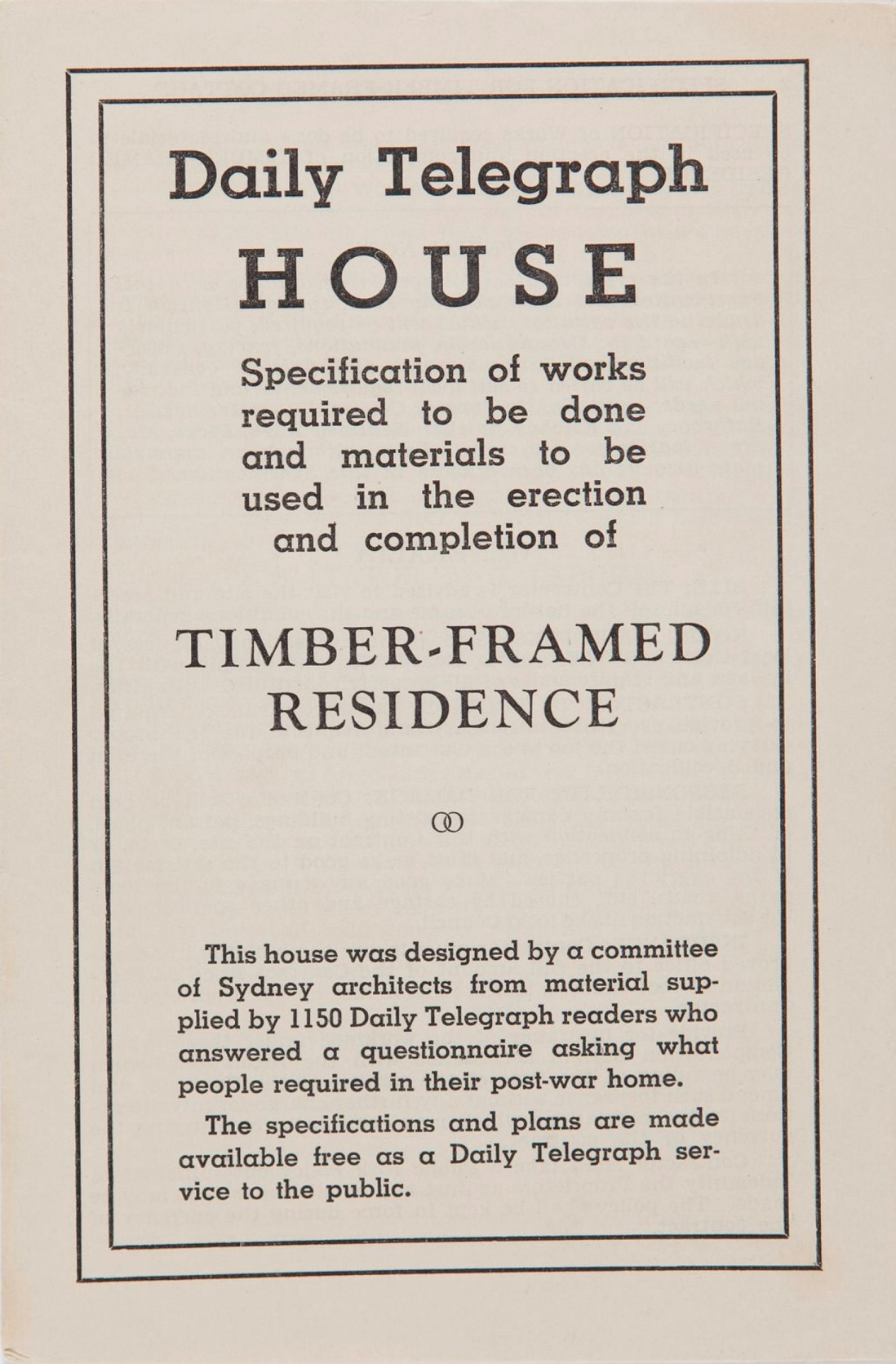 Cover of specification booklet for Daily Telegraph house; Timber-framed residence, 1945