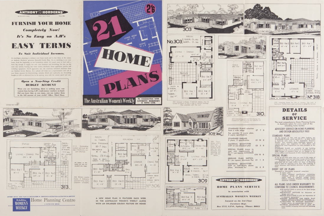 Unfolded booklet of plans and drawings.