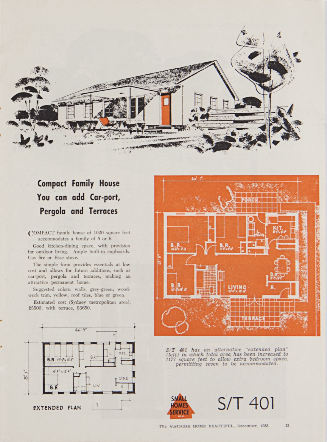 House plan on orange background with description and illustration.