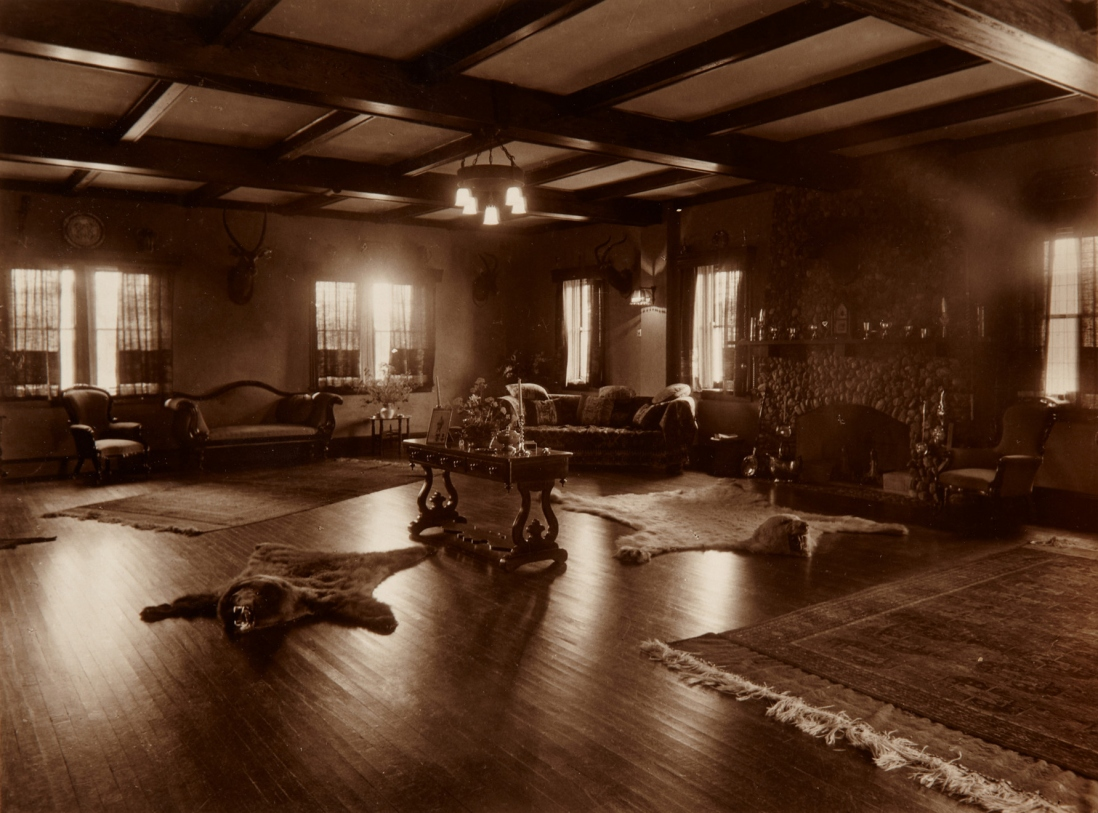 View of the living room at Tinagroo homestead near Scone New South Wales, c1925