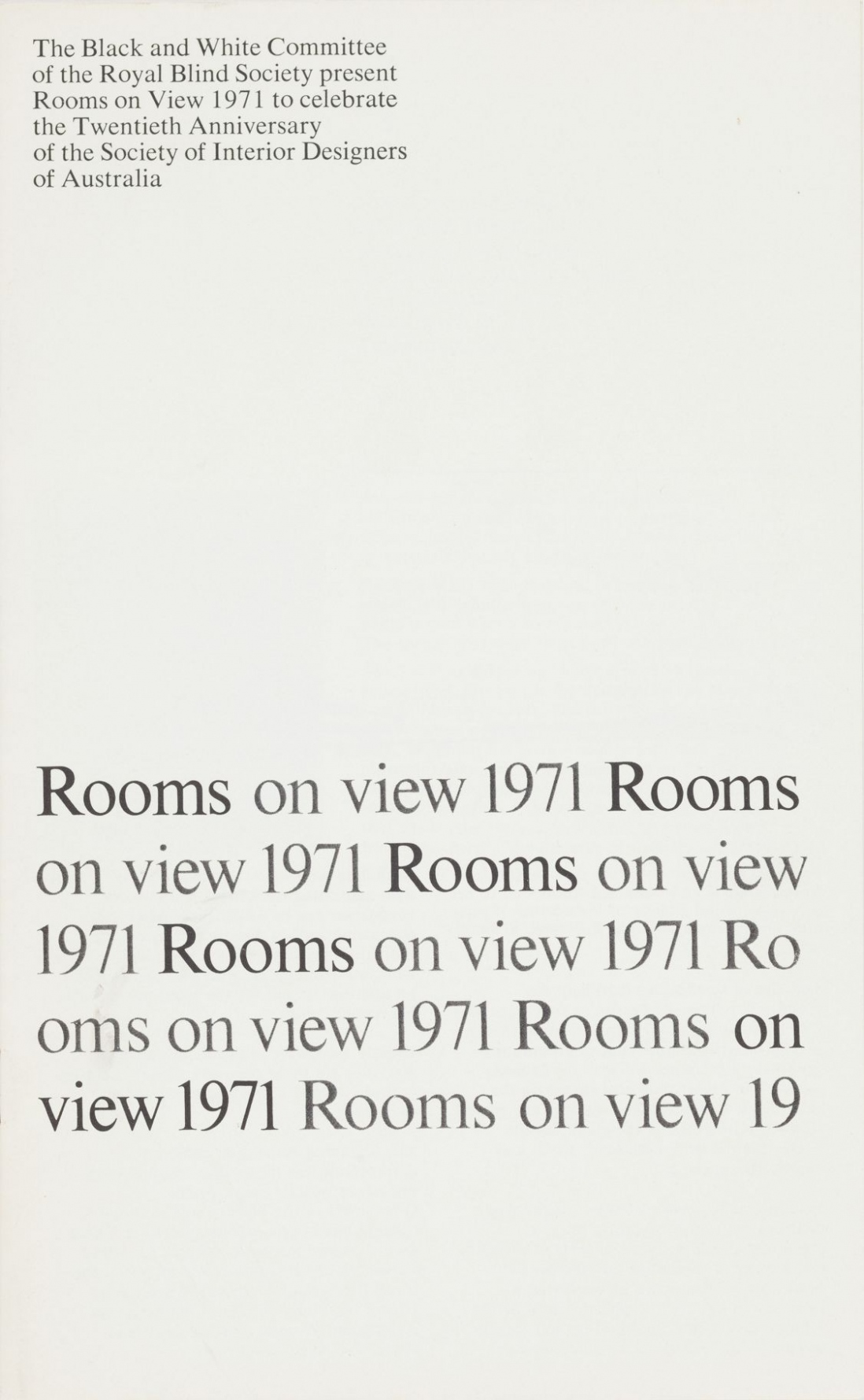 'Rooms on view 1971'
