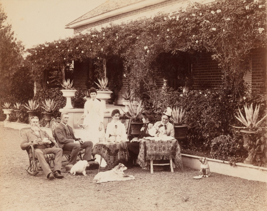 Cook family on the driveway in front of Turanville near Scone / photograpjed by Joseph Check, 1889.