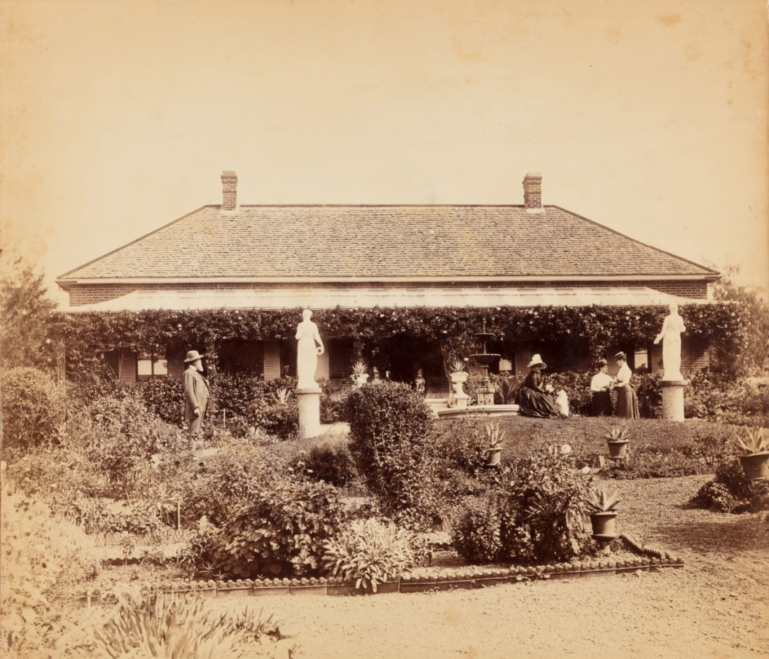 Cook family in the garden in front of Turanville near Scone / photograpjed by Joseph Check, 1889.