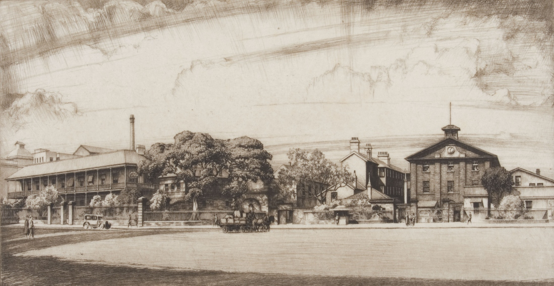 Pencil sketch of streetscape showing a truck and pedestrians, along with a newspaper stand on Queens Square in front of Hyde Park Barracks, with tall buildings, large trees and the Barracks wall in the background.