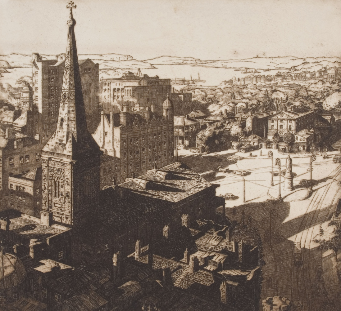 Pencil drawing of view looking down from high building onto Queens Square, Sydney, with spire and church building of St James on left, old Supreme Court buildings at centre and the Hyde Park Barracks to the right.