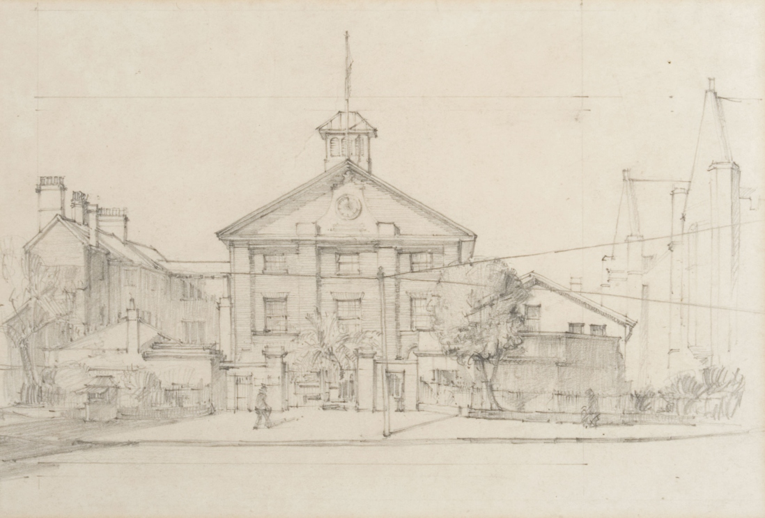 Pencil drawing of large old two story building with gable facade, with clock, turret and flagpole, located inside large fence and gate way with trees and road in the foreground.