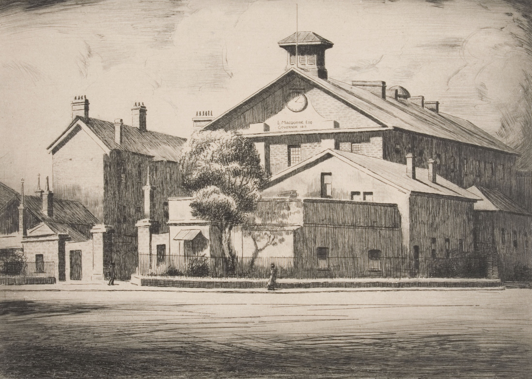 B/W drawing of Hyde Park Barracks, viewed across Queens Square, showing clutter of low offices and cottages in front of the large old 3 storey building with gable front and large sandstone wall and gate area in the foreground.