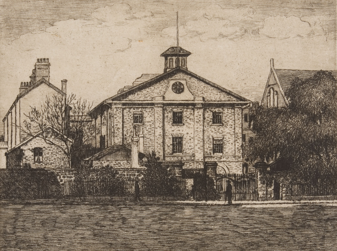 B/W drawing of Hyde Park Barracks, viewed across Queens Square, showing pedestrians and office workers in fron of the large old 3 storey building with gable front and large sandstone wall, trees and gate area in the foreground.