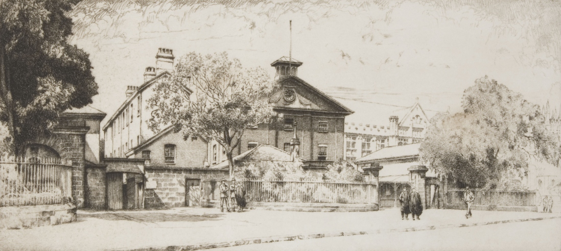 Pencil sketch of Hyde Park Barracks with its gable facade seen through trees and over the sandstone wall facing Queens Square.