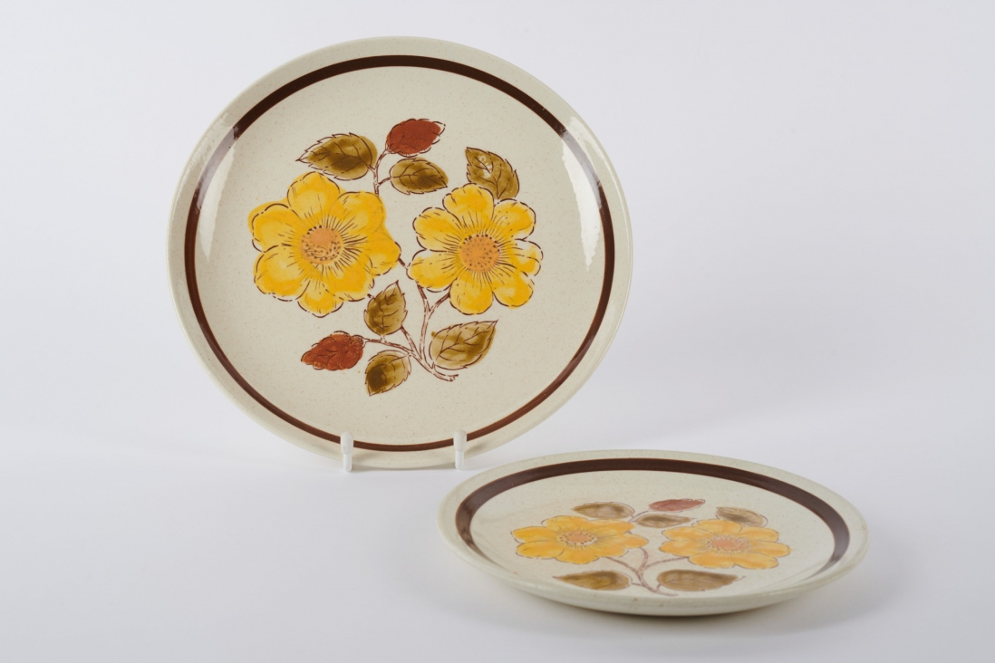 Two plates with yellow flower pattern and brown border.