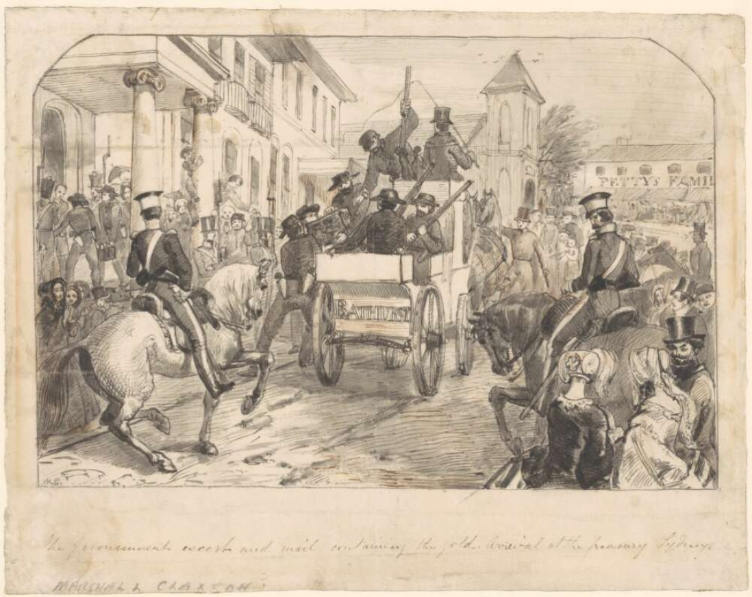 Artwork showing arrival of gold escort to Sydney in 1851