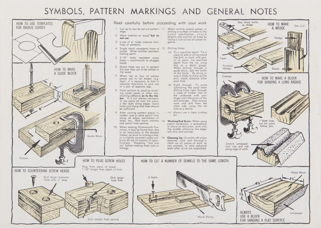 Patterncraft furniture patterns - assembly instructions, 1947