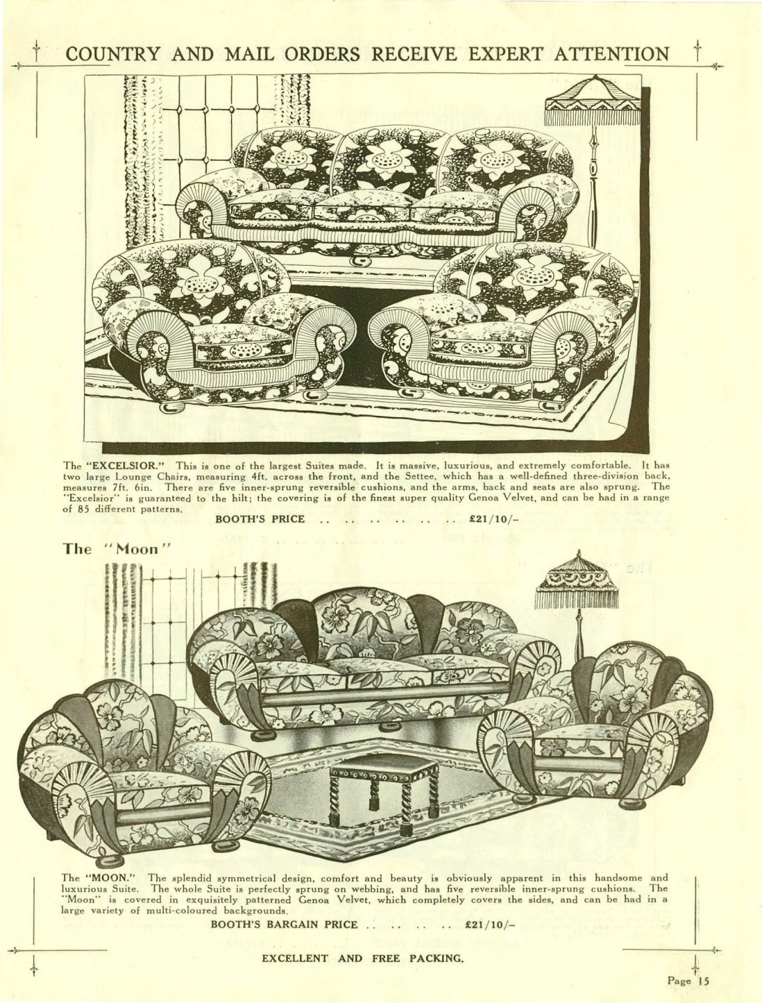 Lounge suites from JA Booth catalogue