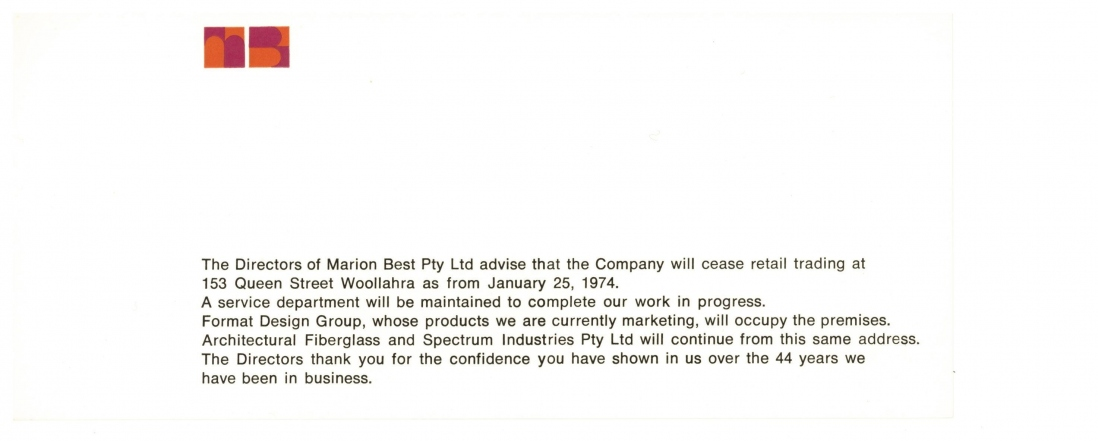 Announcement of the closure of Marion Best Pty Ltd, 1974