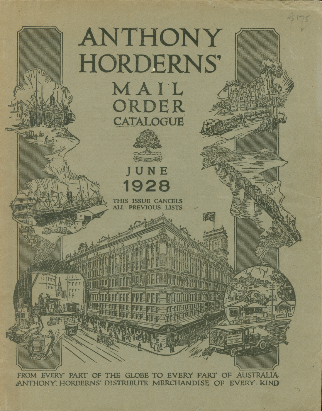 Page from a catalogue showing the outside of Anthony Hordern & Sons department store building