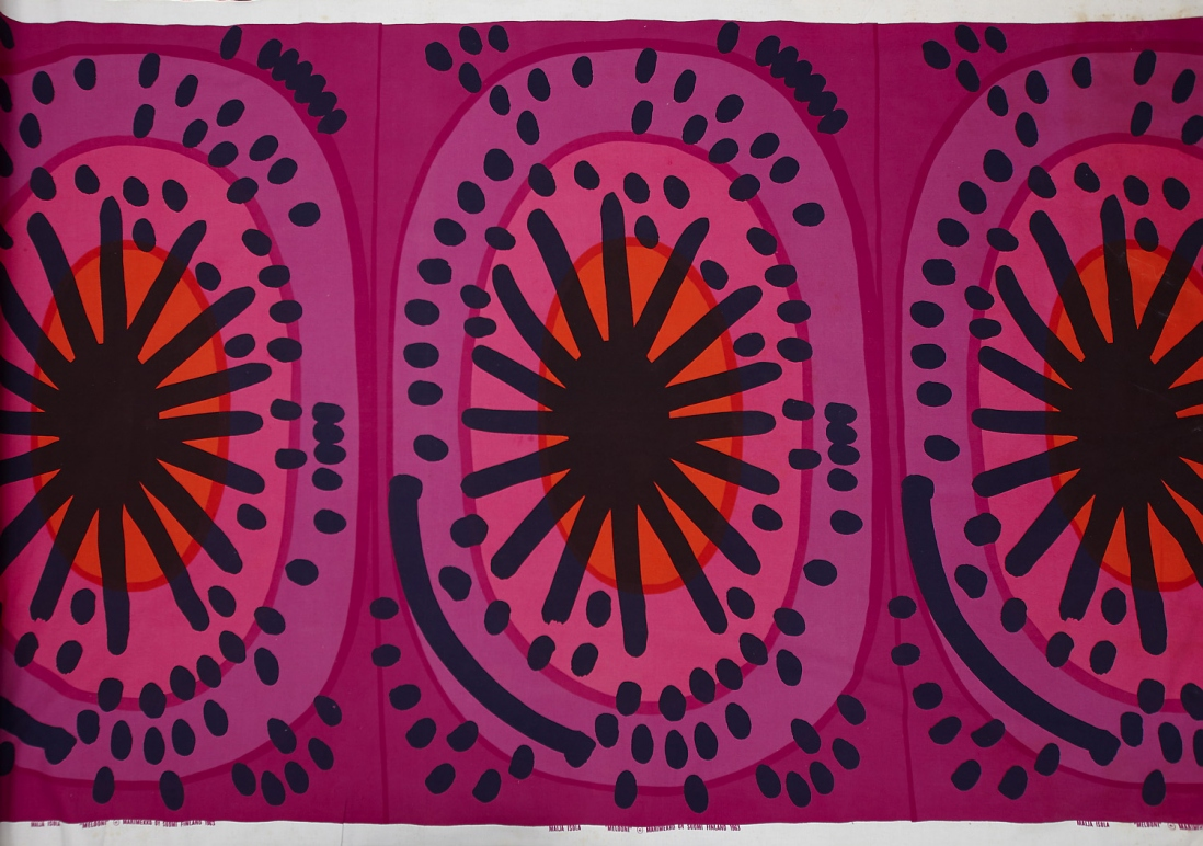 'Melooni with Seeds' printed textile, design by Maija Isola for Marimekko, Finland, c1965