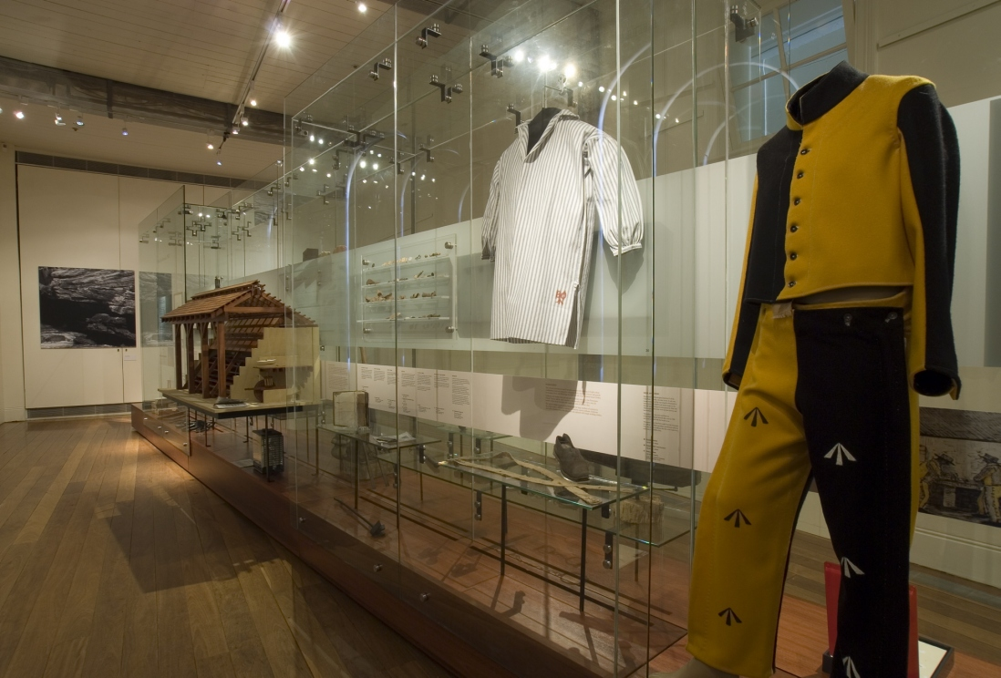 Documentation of Convicts: sites of punishment exhibition showing uniforms