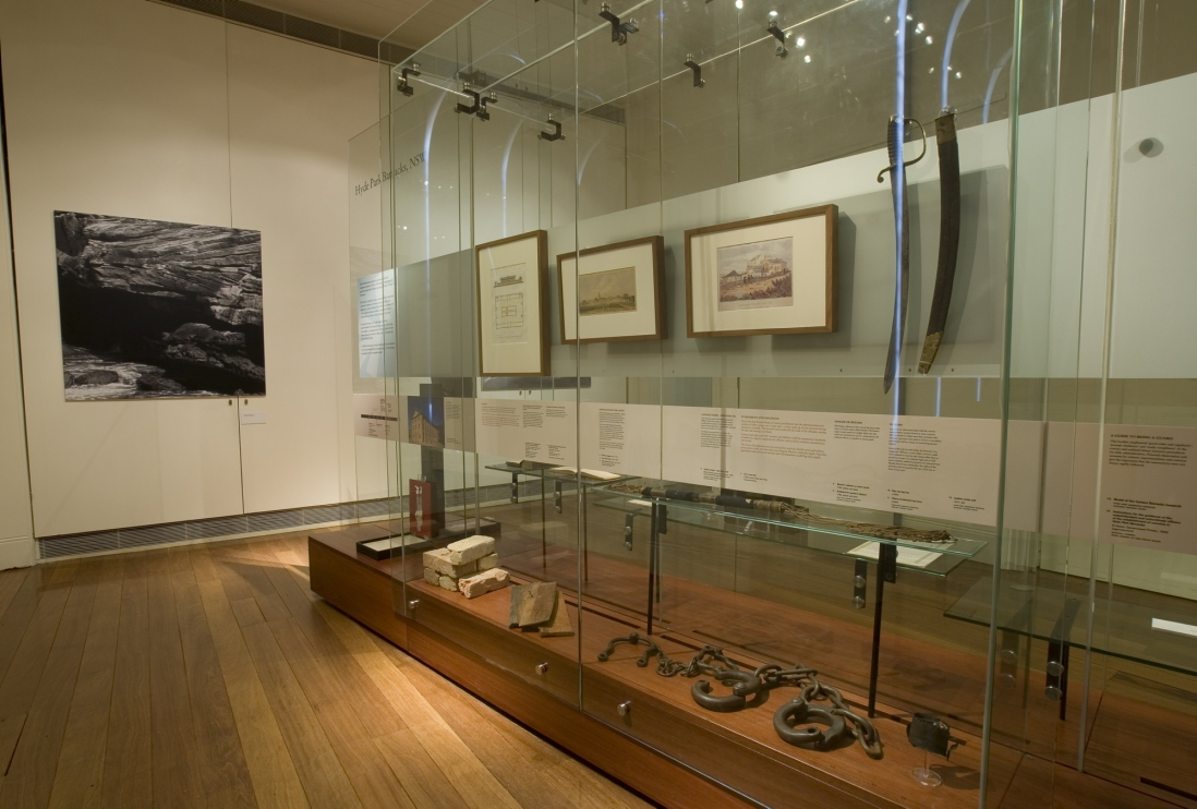Documentation of Convicts: sites of punishment exhibition showing framed prints and multimedia