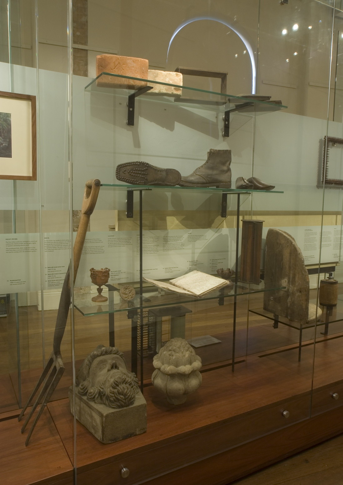 Documentation of Convicts: sites of punishment exhibition showing building tools and objects