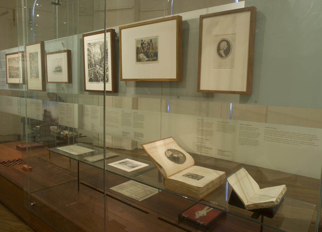 Documentation of Convicts: sites of punishment exhibition showing framed works and bound books