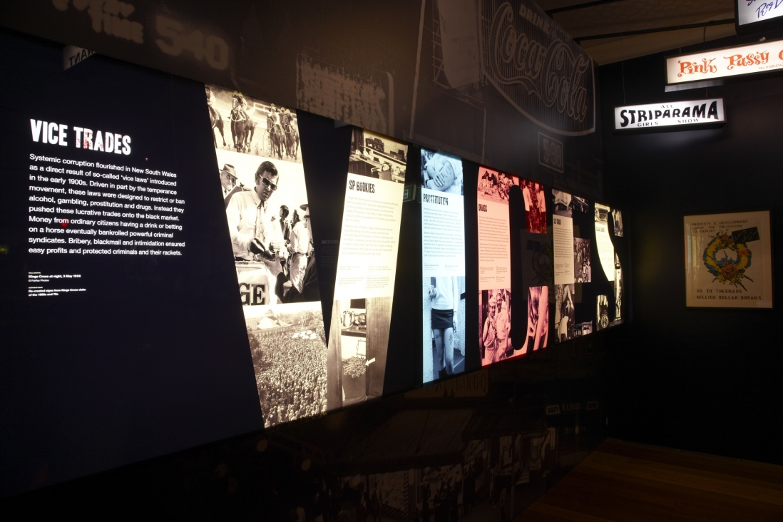 Sin City: crime & corruption in 20th-century Sydney exhibition installation view
