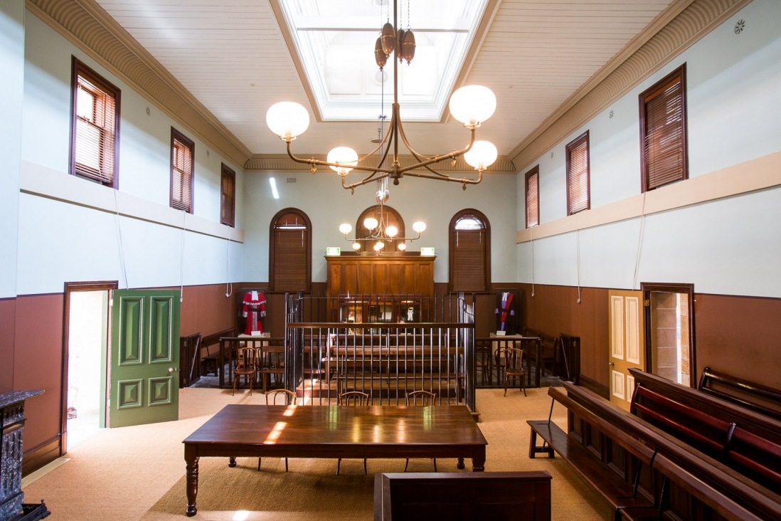Interior of courtroom.
