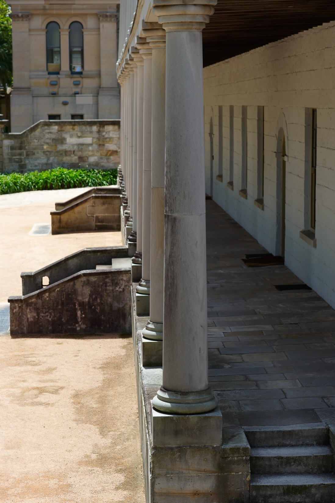 Colonnaded verandah on colonial era building.