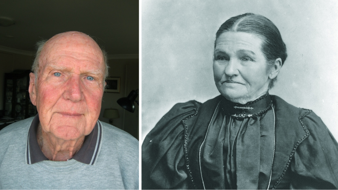 Combined photo portrait featuring contemporary image of elderly man in grey polo shirt and historic photo of woman wearing formal black buttoned up dress and hair pulled tightly back, parted in the middle.