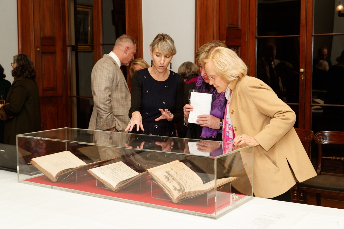 Kate Sheaffe, Helen Gall and Ruth Jaeger with the music collection at the Bel Canto in the Bush recital