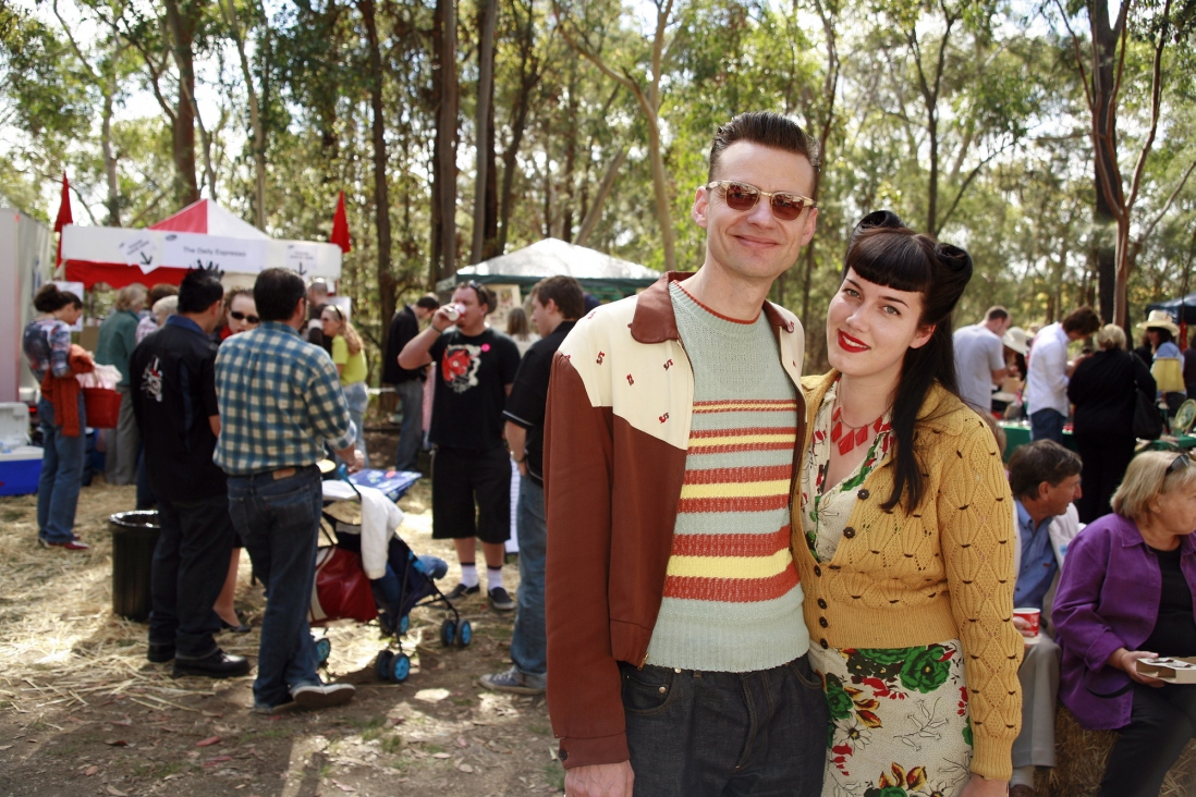 Rockabilly visitors dressed up for the Fifties Fair
