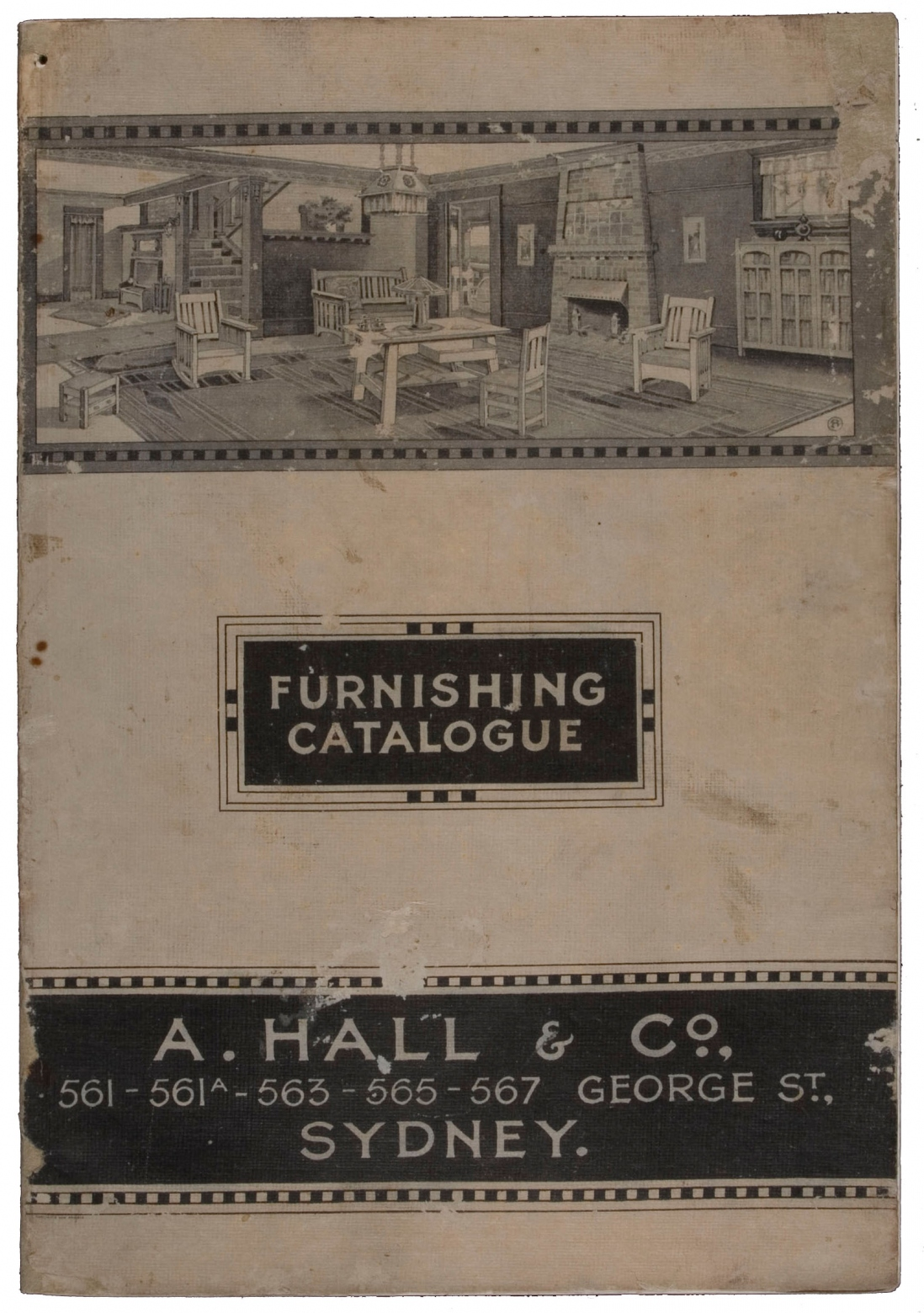 Cover of an old black and white with the word furnishing catalogue in the middle and an illustration of furniture above