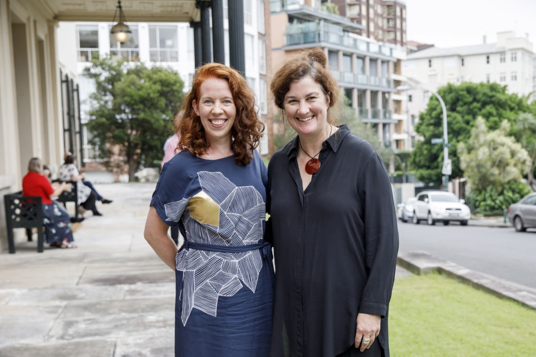 Dr Genevieve Lacey, performer and artistic director, and Joanna Nicholas, Portfolio Curator, House Museums Portfolio, Sydney Living Museums at symposium 'Sound Heritage Sydney: Making Music in Historic Places', Elizabeth Bay House
