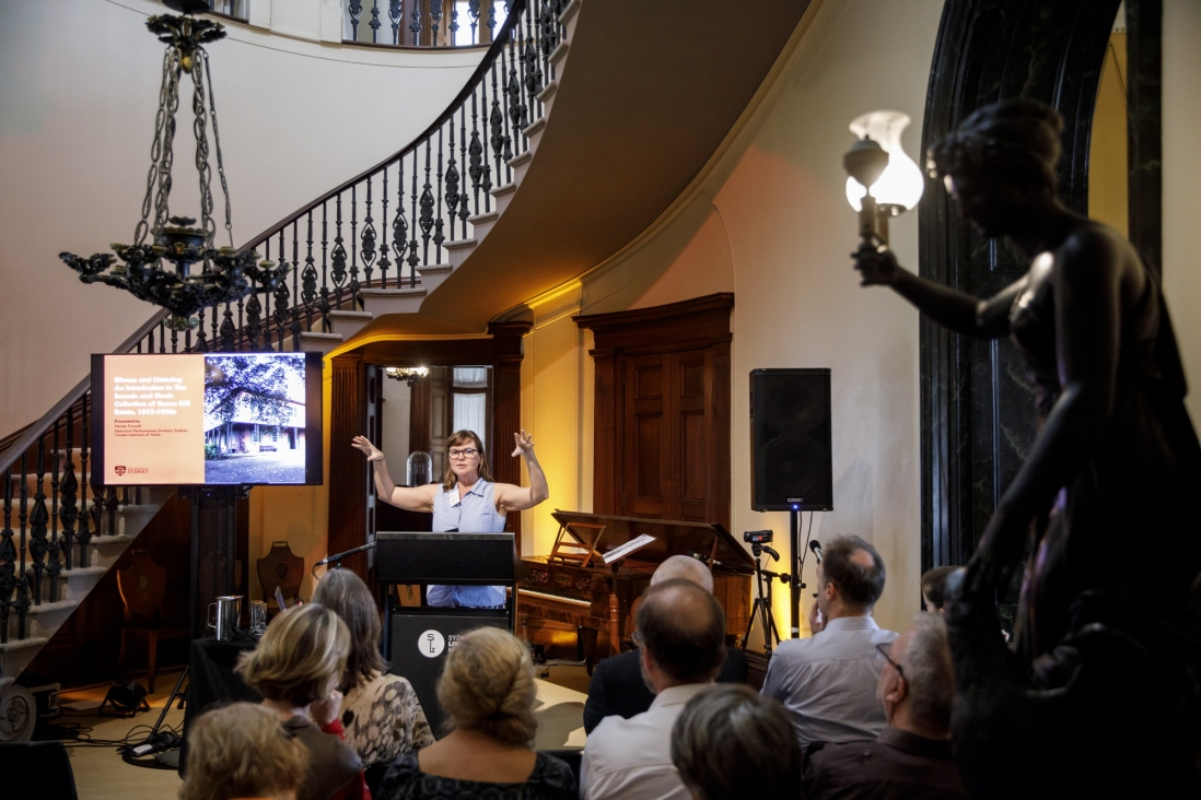 Nicole Forsyth, Historical Performance Division, Sydney Conservatorium of Music, University of Sydney, speaking at symposium 'Sound Heritage Sydney: Making Music in Historic Places', Elizabeth Bay House