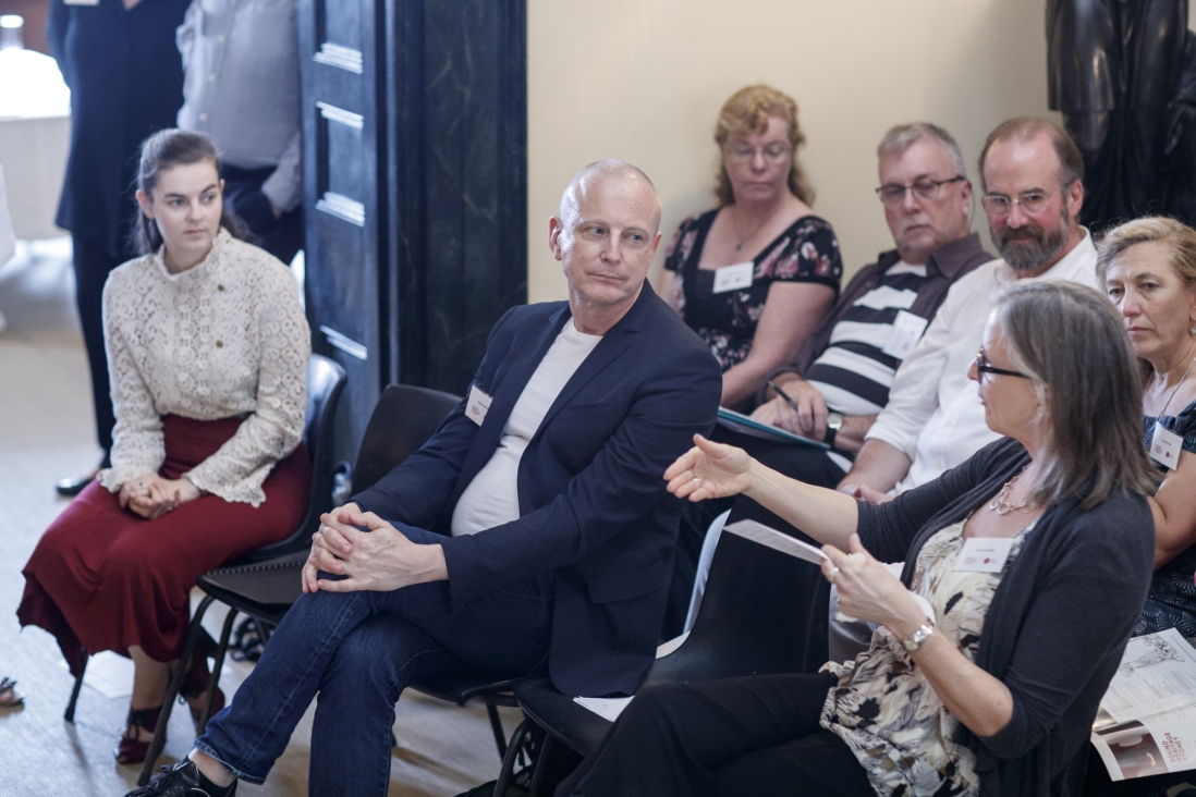 Dr Brianna Robertson-Kirkland, Dr Graeme Skinner, Professor Jeanice Brooks, Heather Clarke, Vincent Plush, Ian Blake and Dr Jennifer Gall at symposium 'Sound Heritage Sydney: Making Music in Historic Places', Elizabeth Bay House