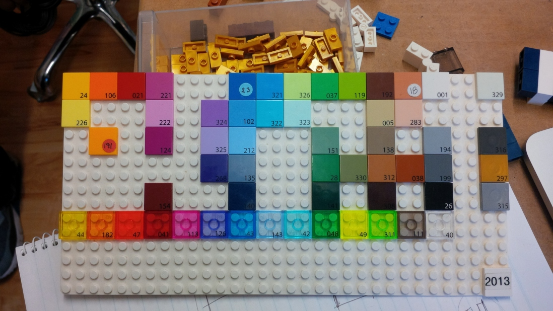 Range of LEGO brick colours