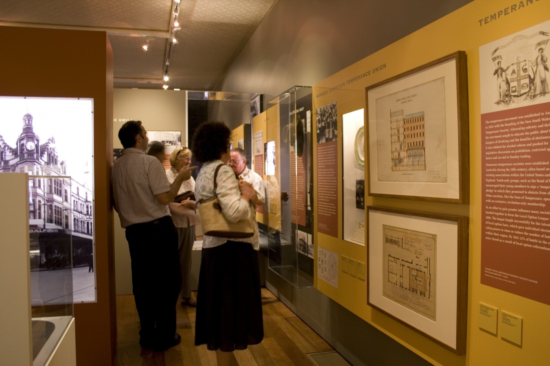 Guests view the exhibition during the launch of Sydney's Pubs, Justice & Police Museum, 26 February 2008.