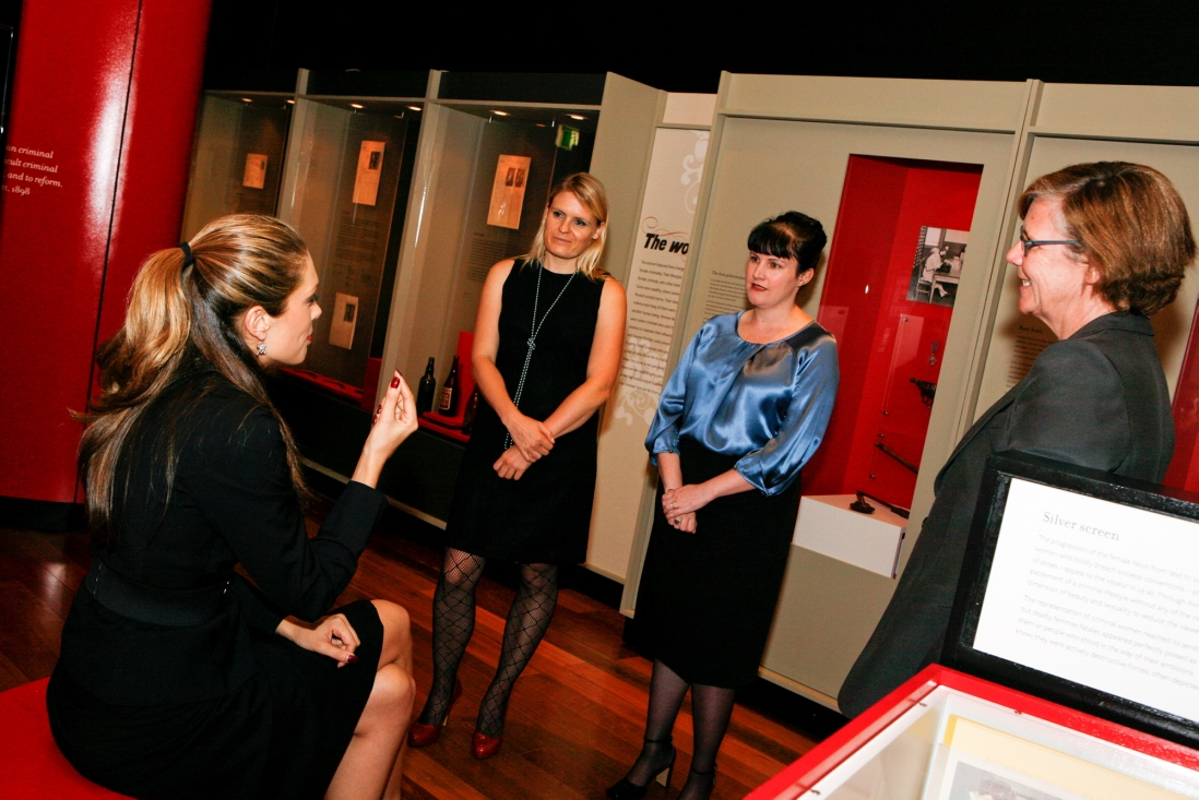 Tara Moss, Ruth Williams, Nerida Campbell and Kate Clark at the Femme Fatale exhibition launch
