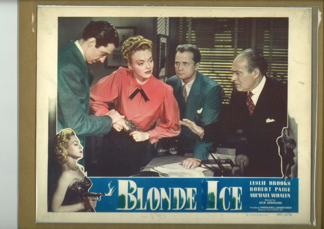 Movie poster showing a lady in a red shirt surrounded by men perhaps questioning her about a crime.