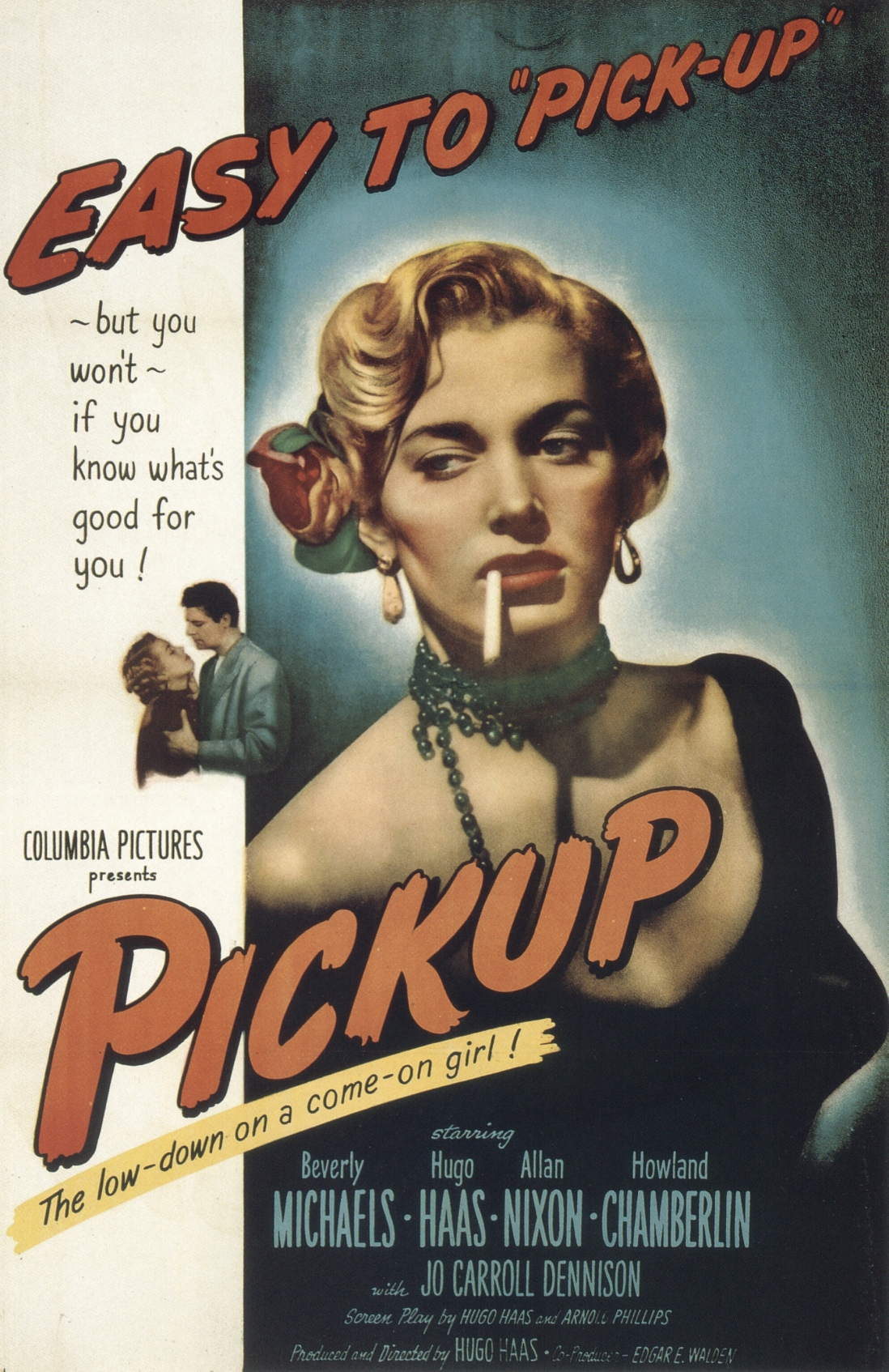 Movie poster showing woman smoking a cigarette. text reads: Easy to pick-up.