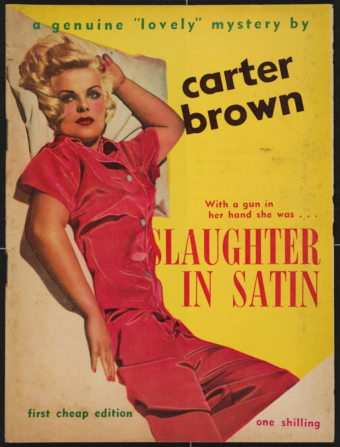 Book cover showing a blonde lady in red stain dress lying back on a bed.