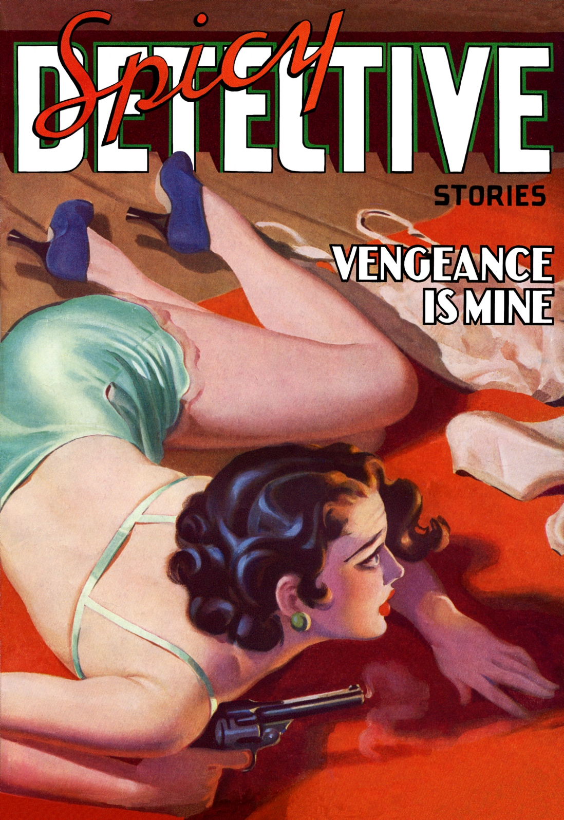 Illustrated book cover showing lady in her underwear lying on the floor holding a gun.